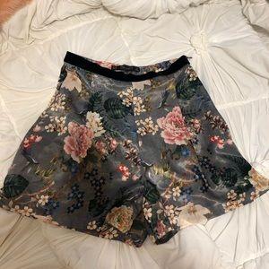 Zara Floral Silky Shorts - XS